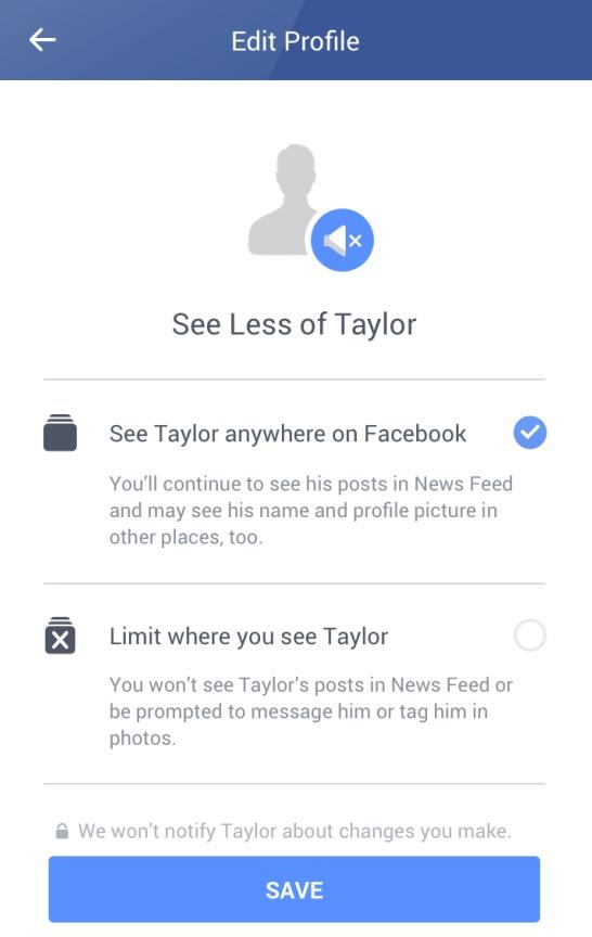 Facebook ofreciéndote ver menos de tu ex