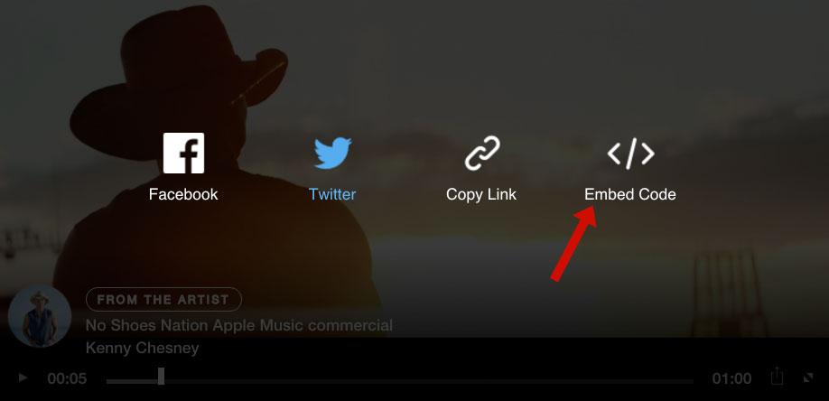 Opciones para compartir de los vídeos de Apple