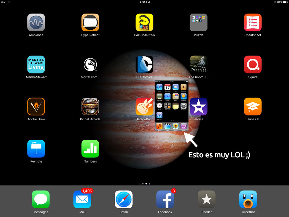 Pantalla del iPad Pro con una captura de pantalla del iPhone original
