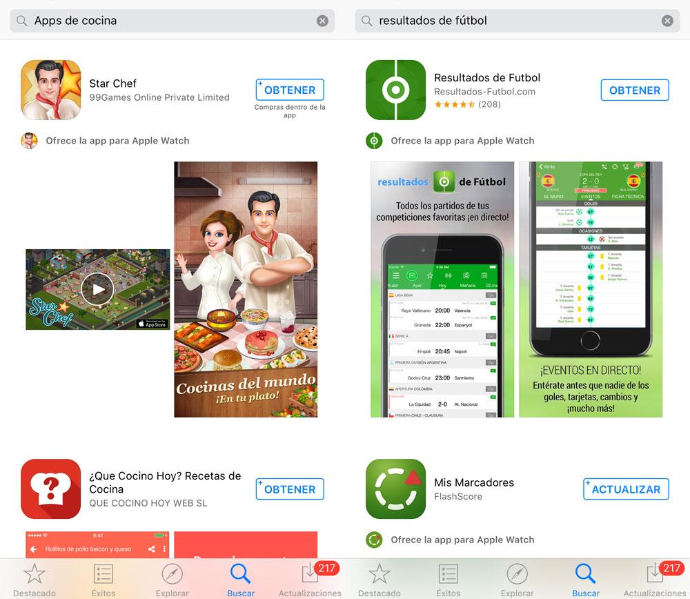 Resultados de búsqueda en la App Store