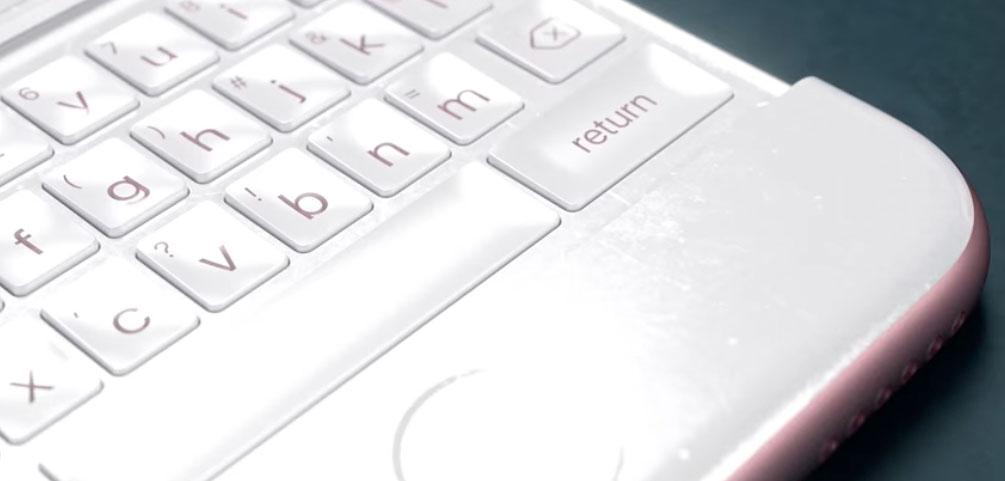 Concepto de teclado físico en un iPhone 6