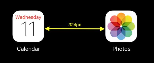 Separación entre iconos del iPad Pro