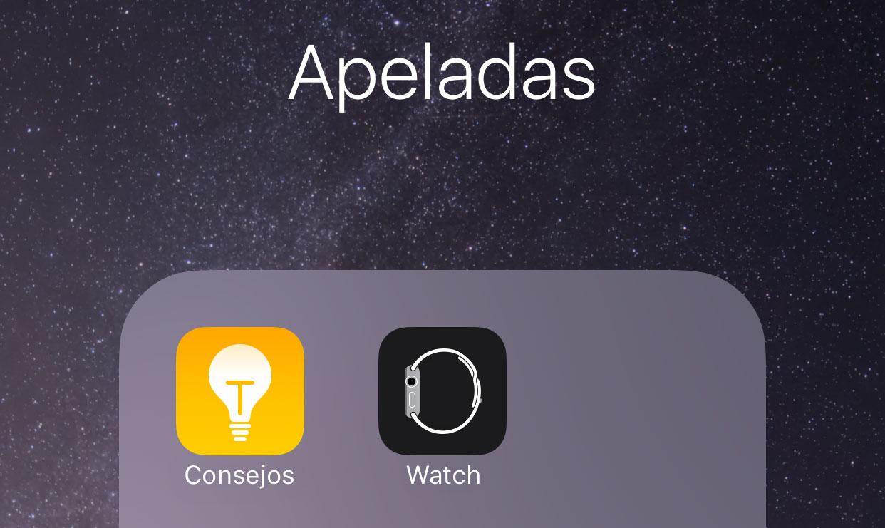 Carpeta con Apps que apenas se van a utilizar
