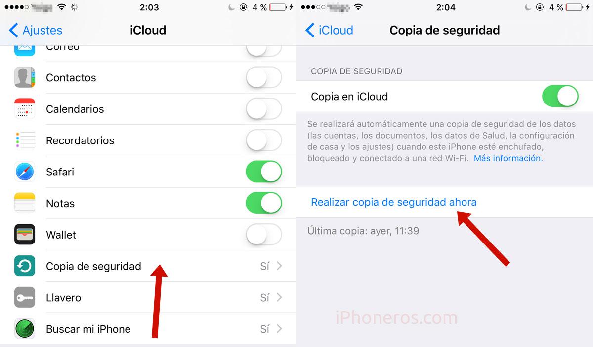 Ajustes de copia de seguridad en iCloud