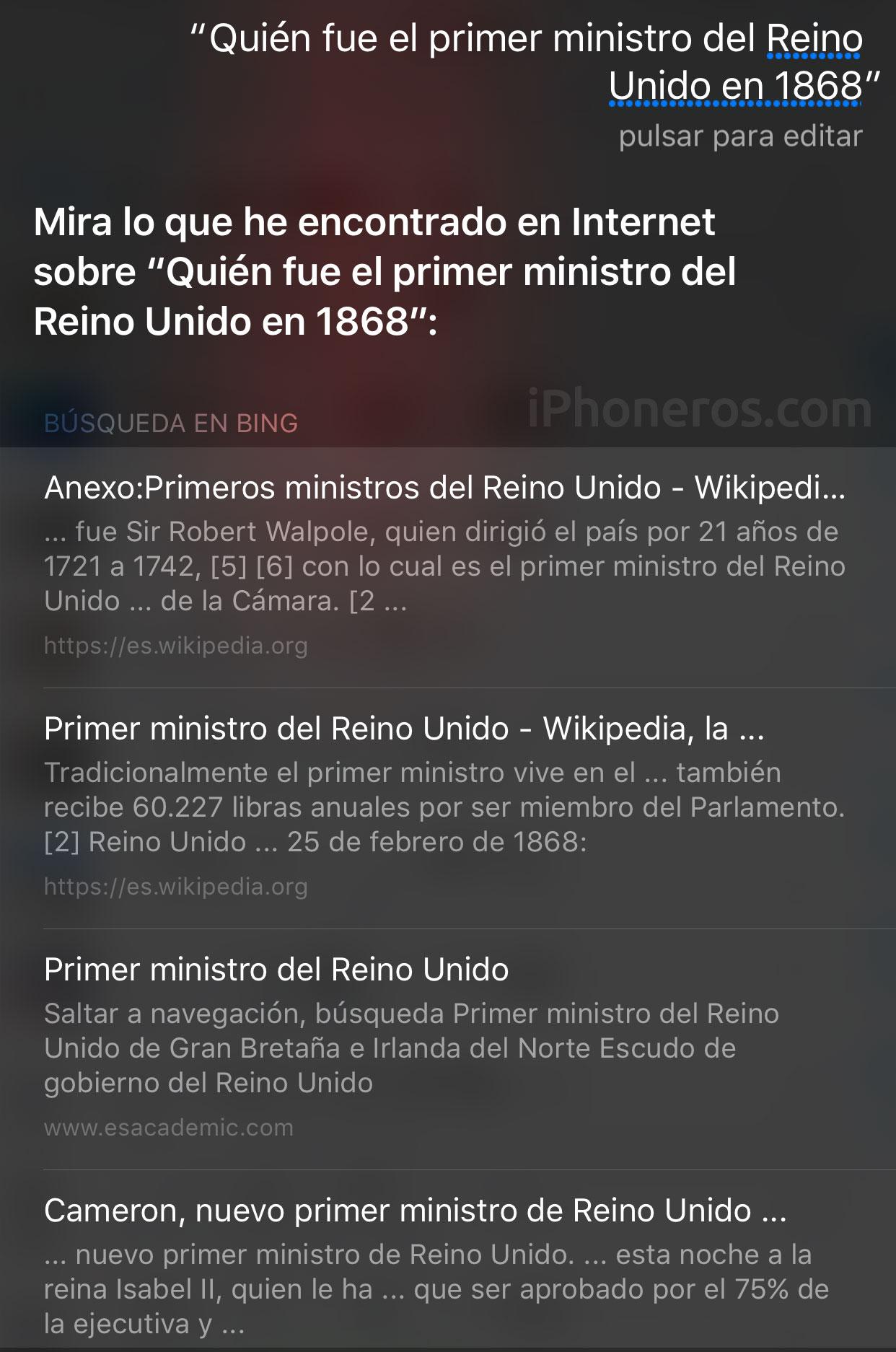 Siri no sabe quién fue el primer ministro del Reino Unido en 1868