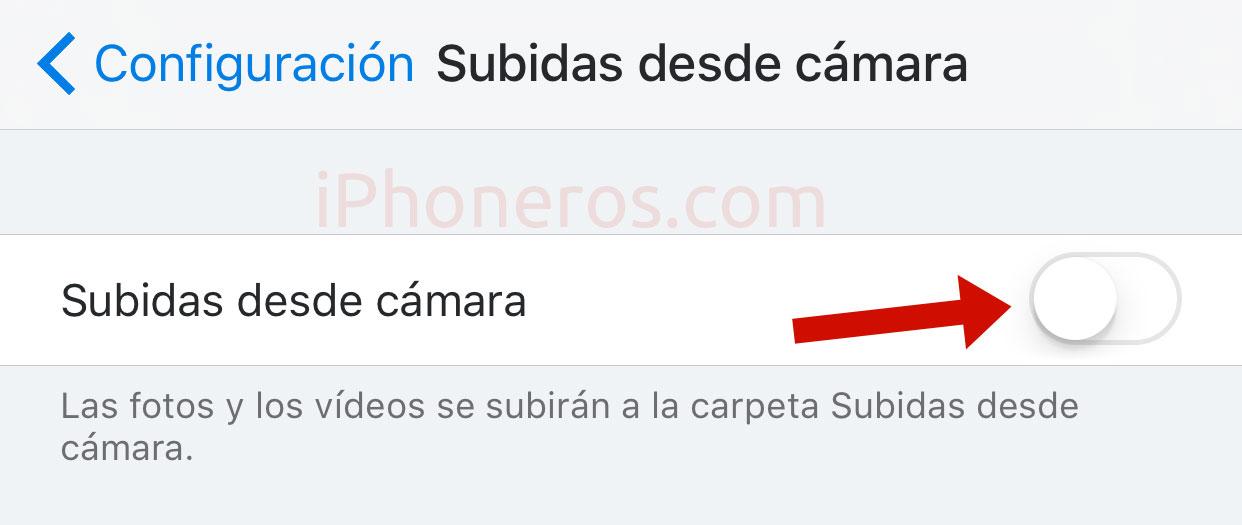 Subidas de cámara desde Dropbox