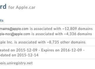 Registro del dominio Apple.car