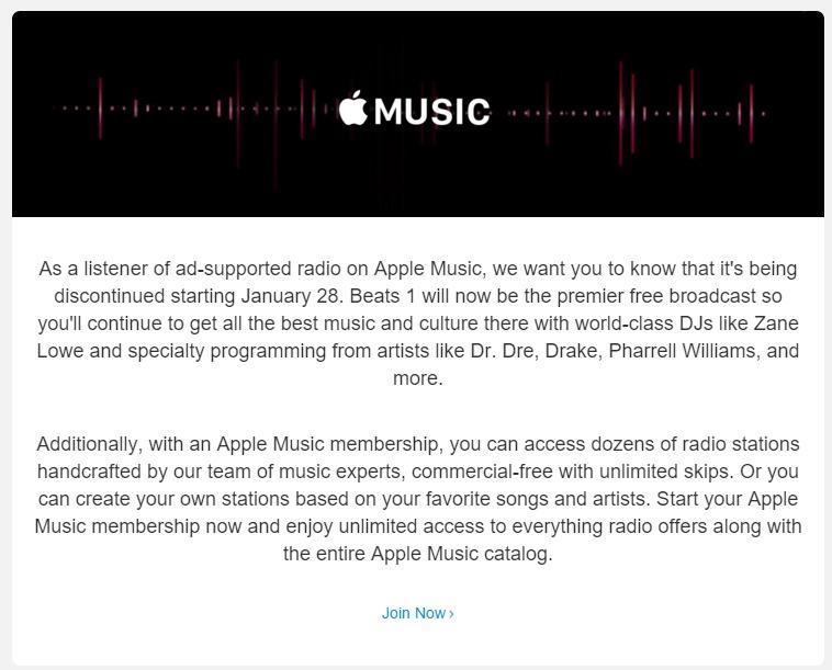 Email sobre el fin de las radios de iTunes