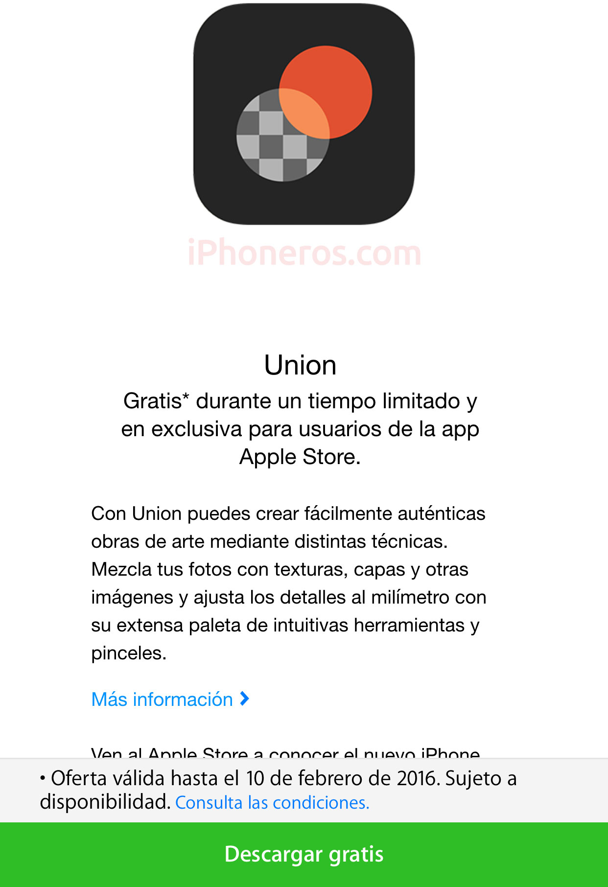 Union gratis en la Apple™ Store