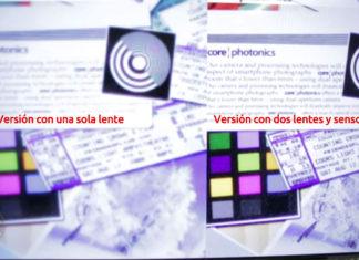 Comparación de imágenes de fotos con una o dos lentes y sensores