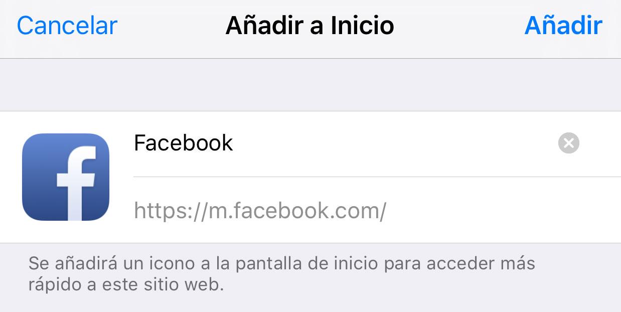 Facebook en la pantalla de inicio
