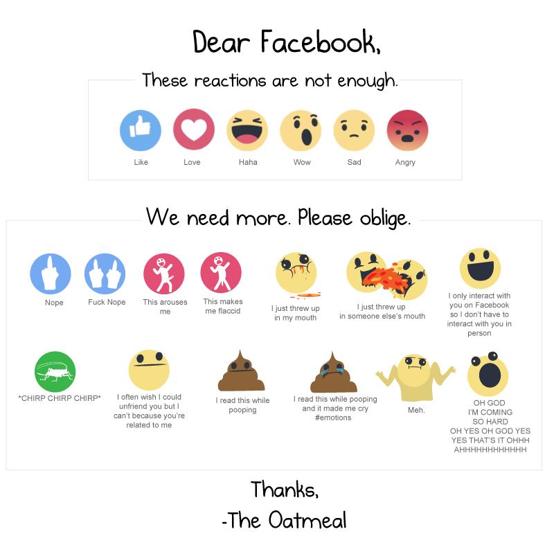 Más reacciones a proponer a Facebook