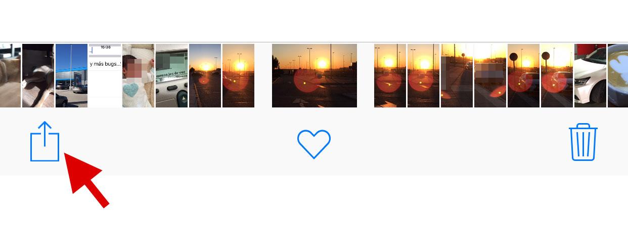 Opción de compartir fotos en iOS