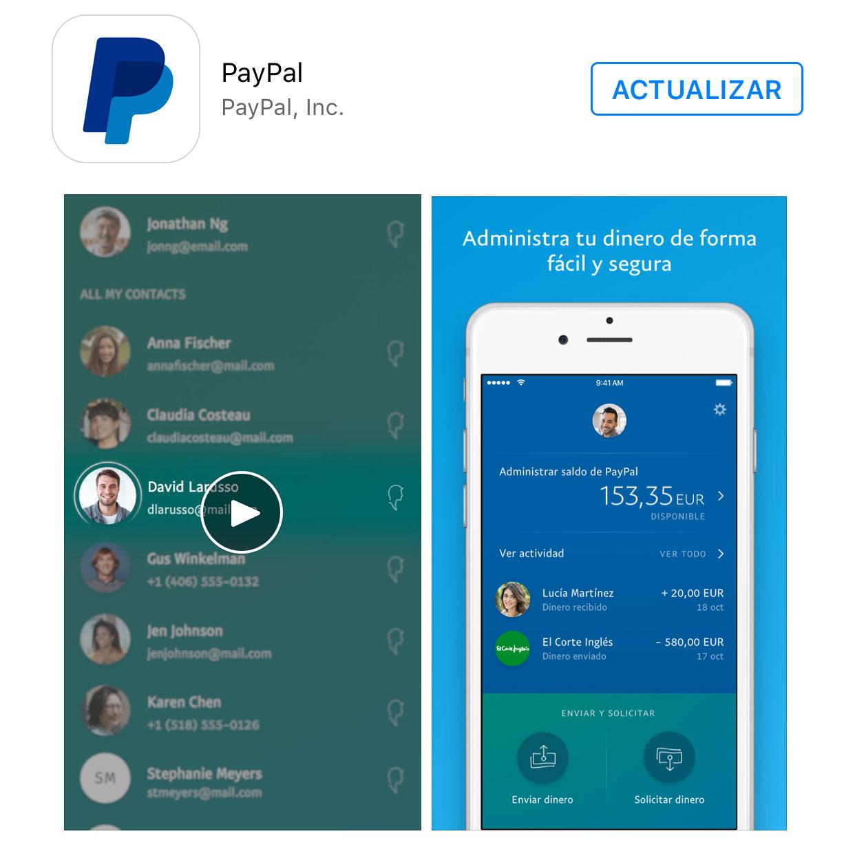 Actualización de PayPal