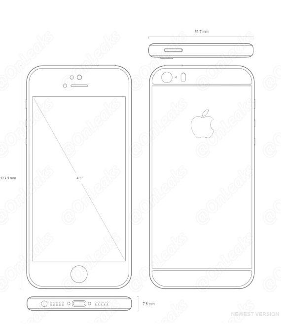 Esquema del supuesto iPhone SE