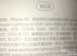 Foto de la supuesta caja del iPhone SE
