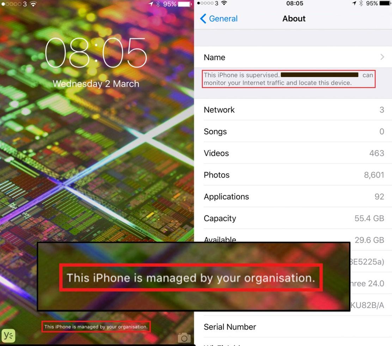 Mensaje que muestra que el iPhone está administrado remotamente