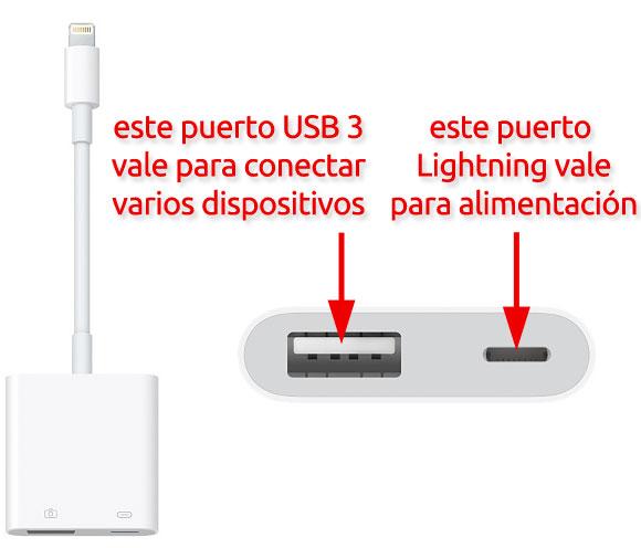 Puerto USB 3 y USB C del adaptador Lightning