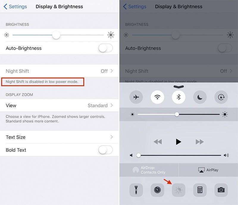 Sin modo nocturno debido al ahorro de energía de iOS