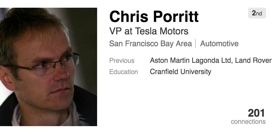 Perfil de Chris Porritt en Tesla Motors