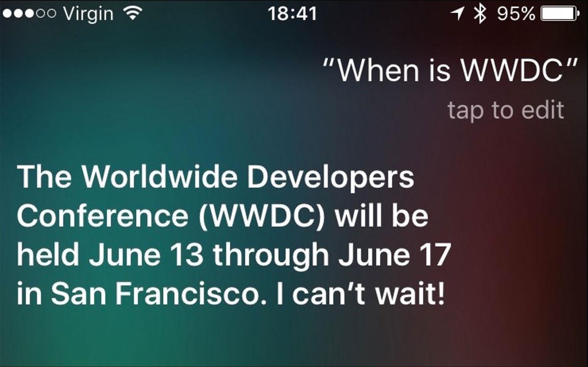 Fechas de la WWDC 2016 dadas por Siri