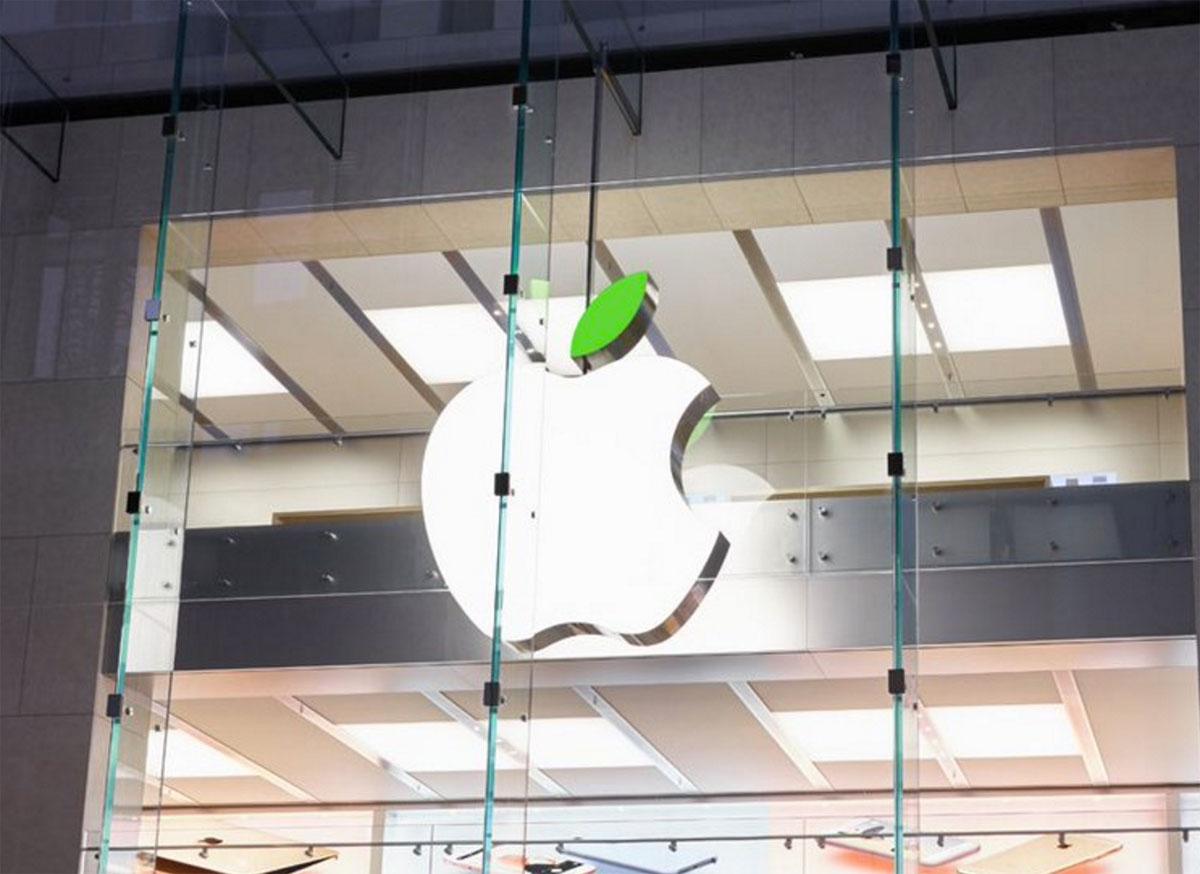 Logotipo de Apple con la hoja verde