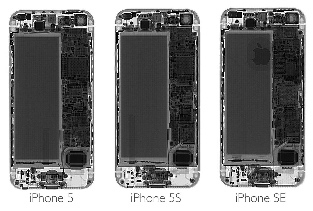 iPhone 5, 5S y Se vistos con rayos X