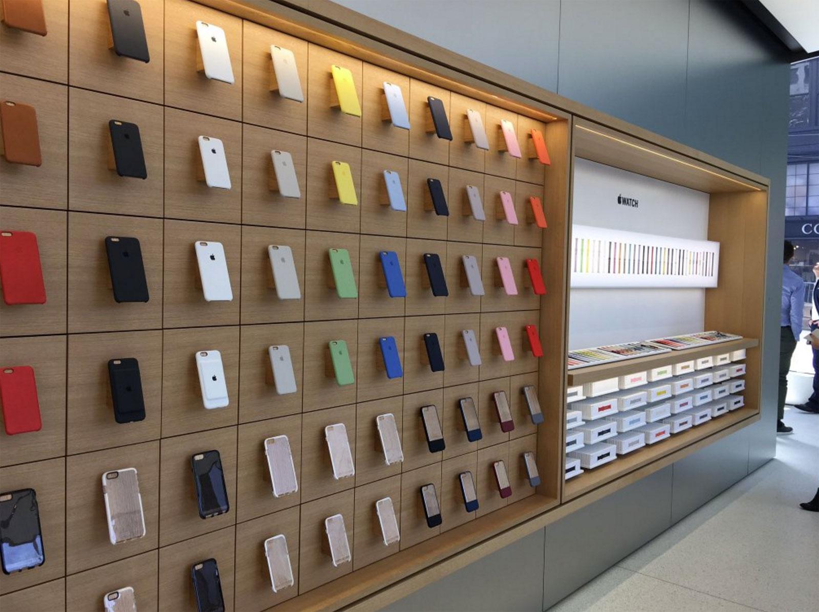 Estanterías de Accesorios en la Apple Store de Unison Square