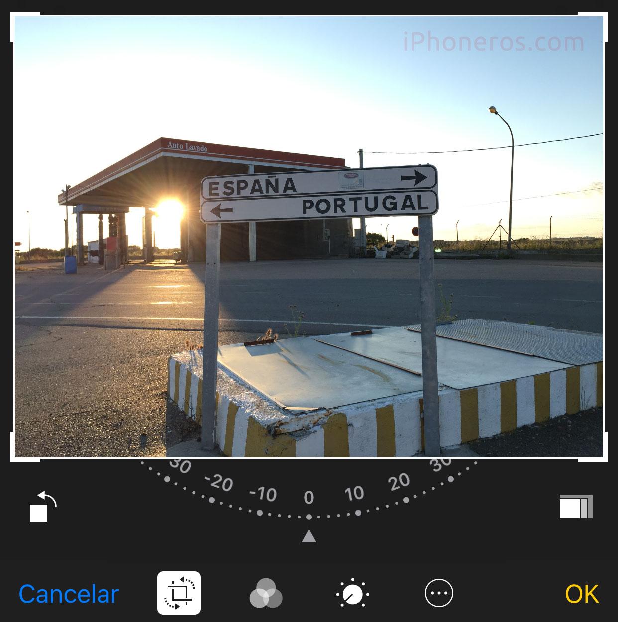 Editando una imagen en la App de fotos