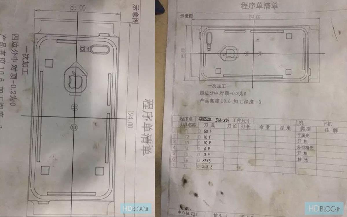 Esquemas de los supuestos moldes del iPhone 7 y 7 Plus