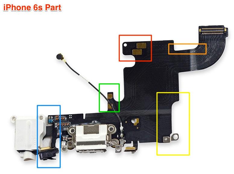 Cable flex con el conector Lightning y auriculares del iPhone 6S