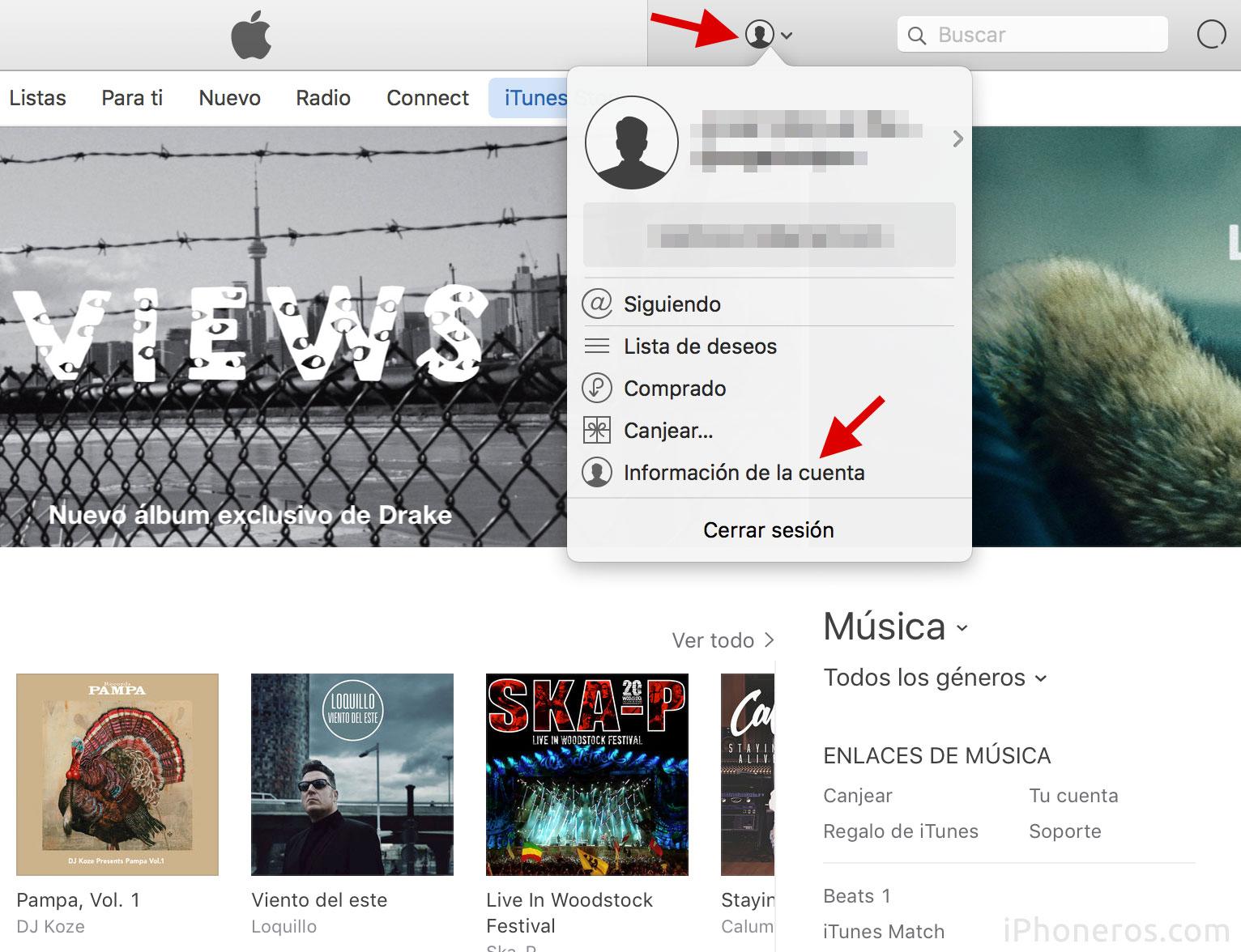Información de la cuenta en iTunes