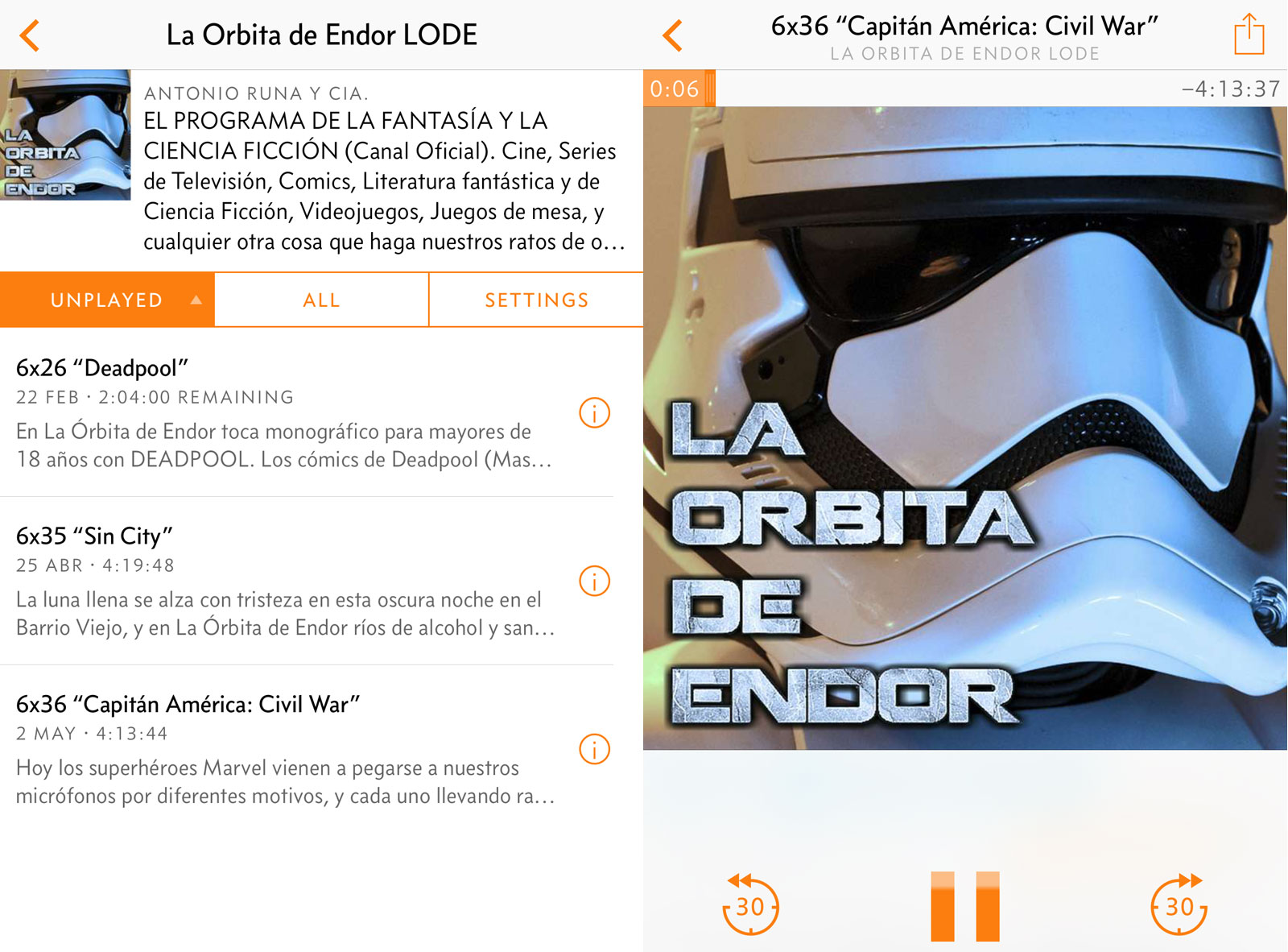 Podcast de la Órbita de Endor en Overcast