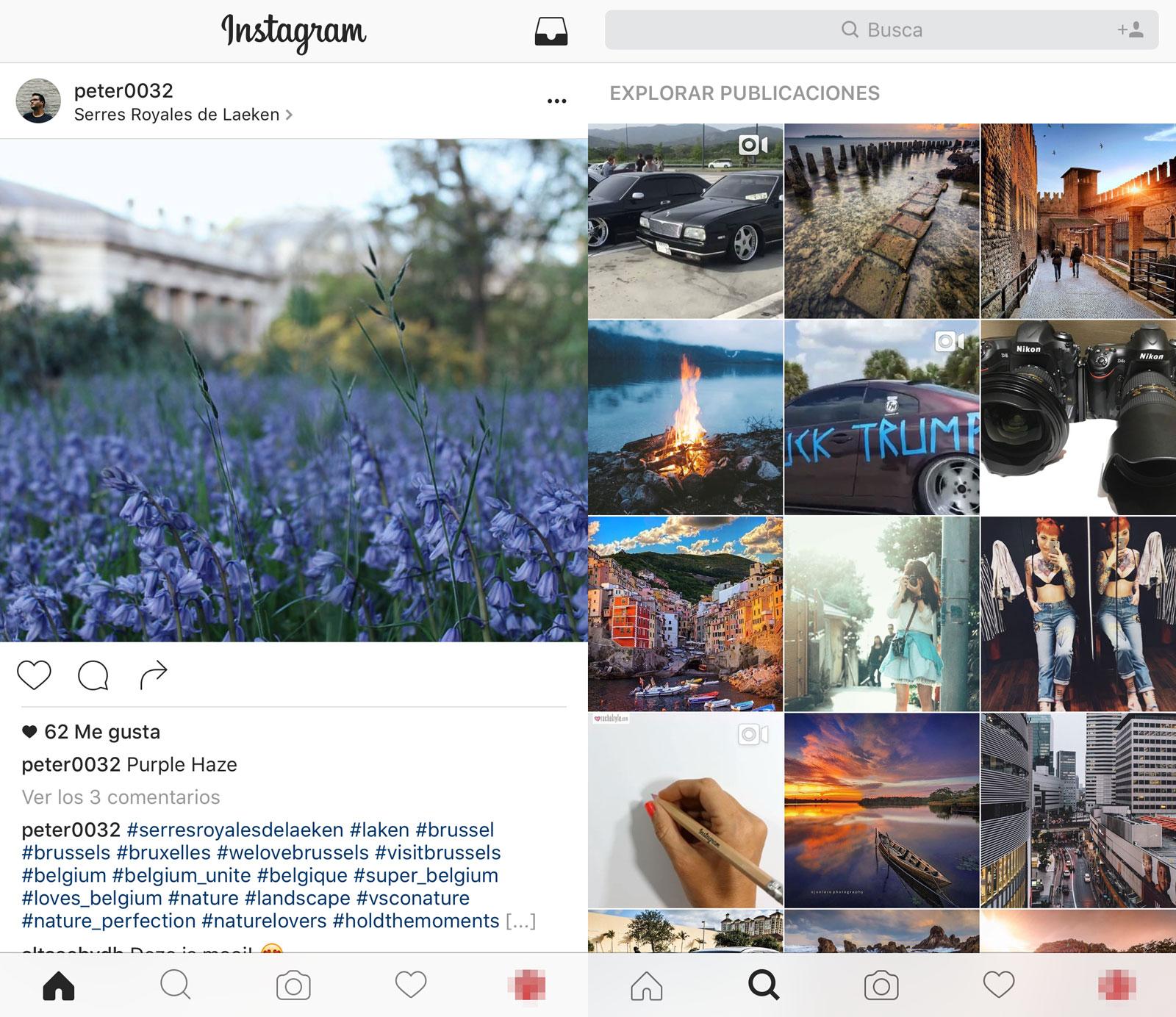 Nueva interfaz de Instagram