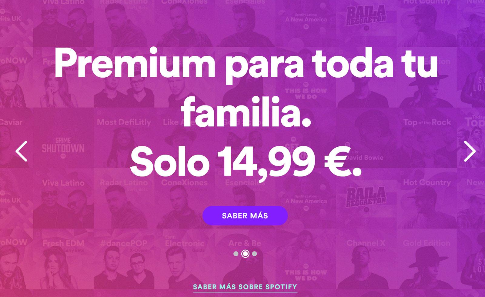 Spotify baja el precio de su suscripción familiar