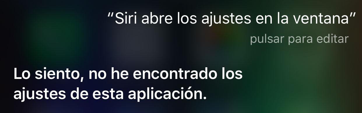 Siri no puede abrir los ajustes