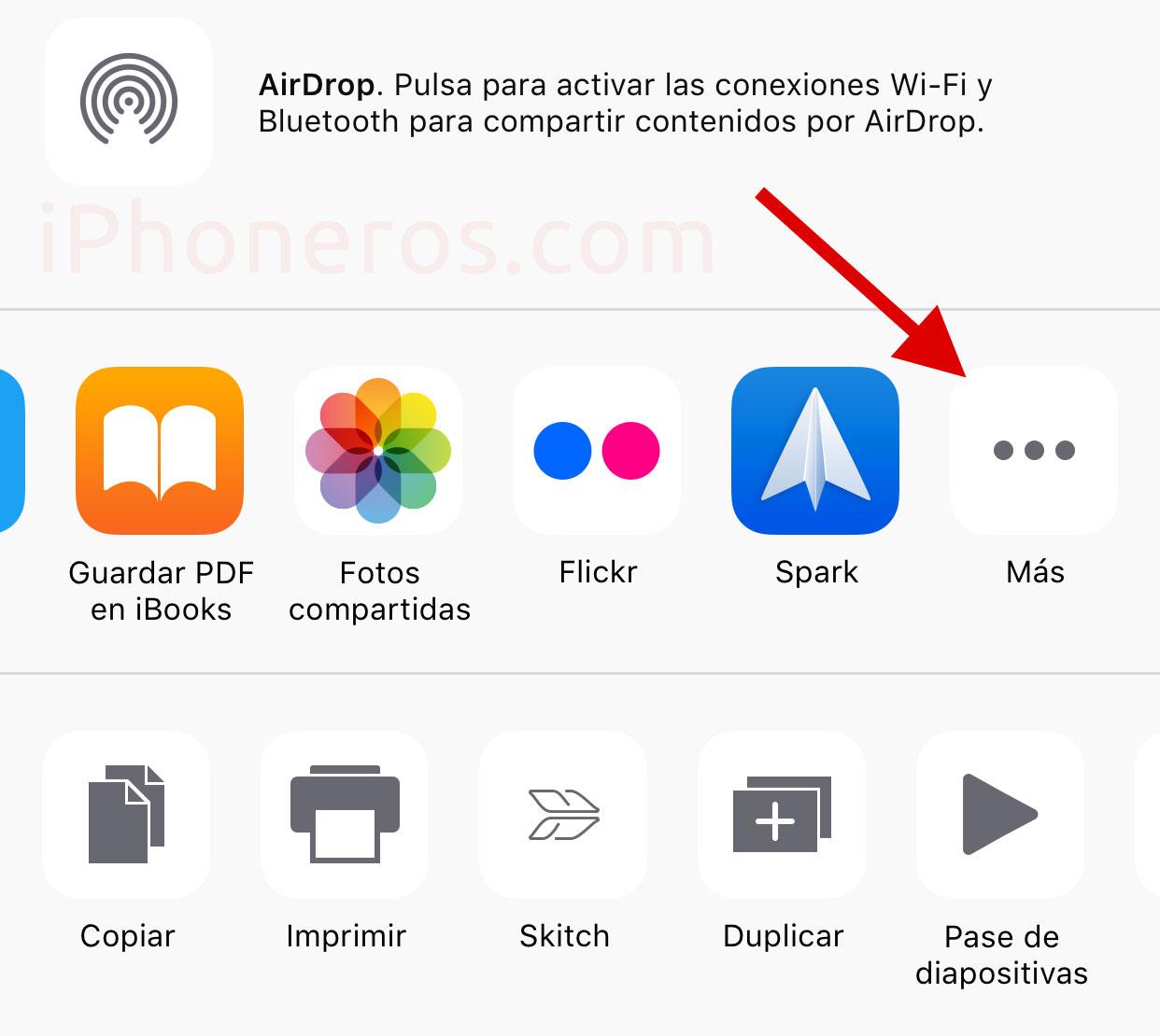 Botón más para añadir extensiones de Apps en iOS