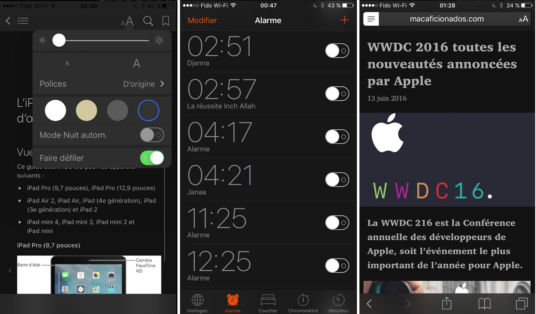 Interfaz oscura de iOS 10