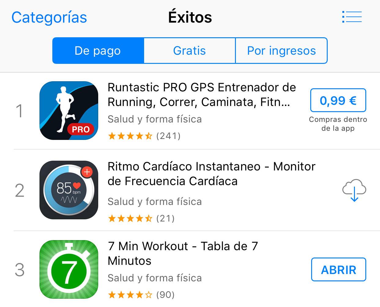 Listas de Apps populares en la App Store