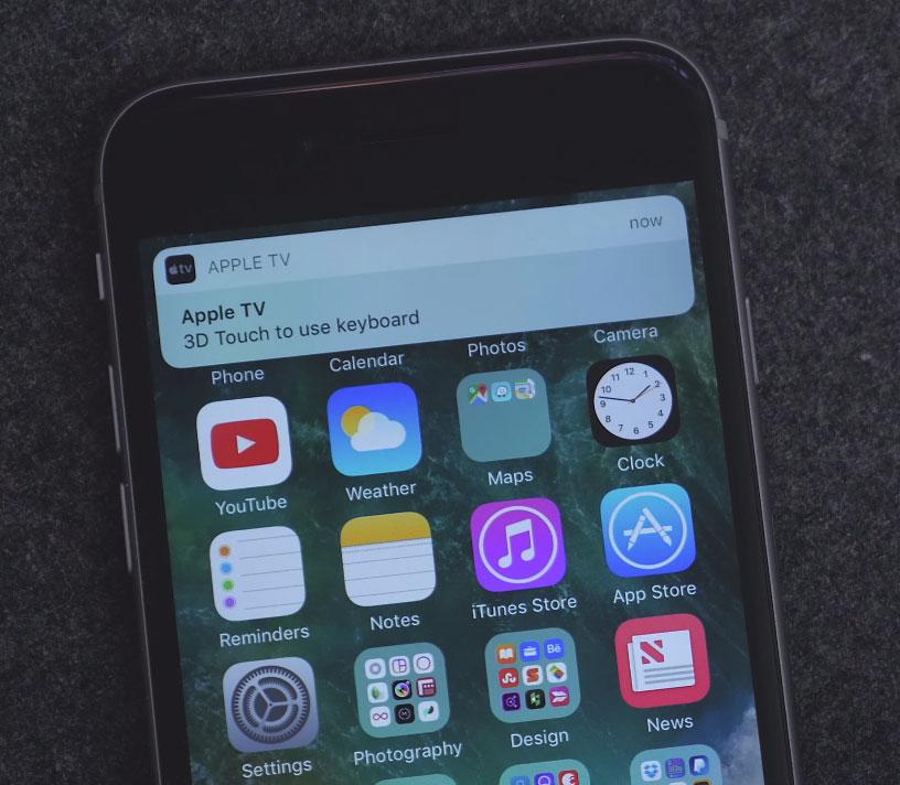 Notificación para teclear en el Apple TV