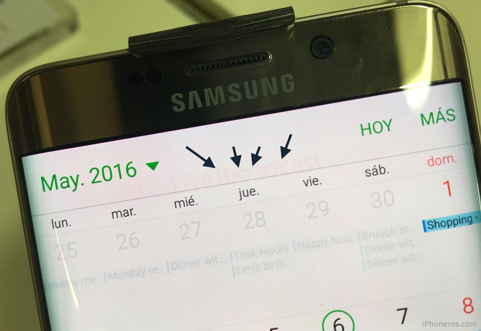 Pantalla de un Samsung Galaxy S7 edge con sombras