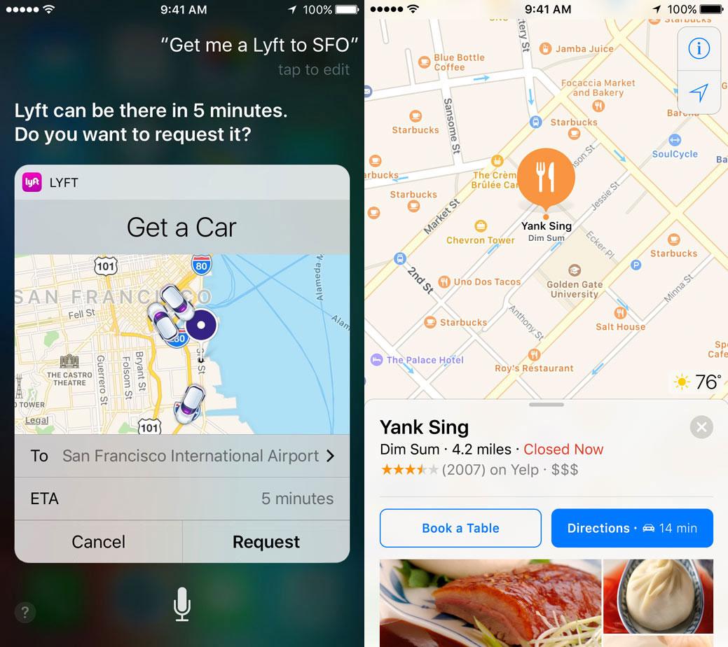 Utilizando Siri con Lyft o Open Table