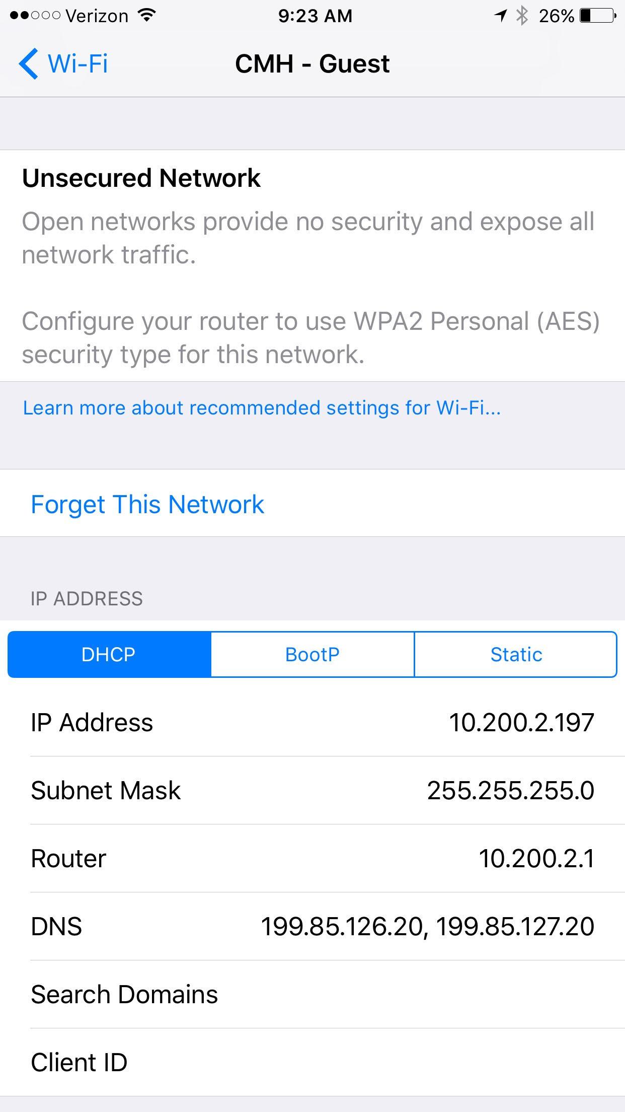 Aviso de red no segura en iOS 10