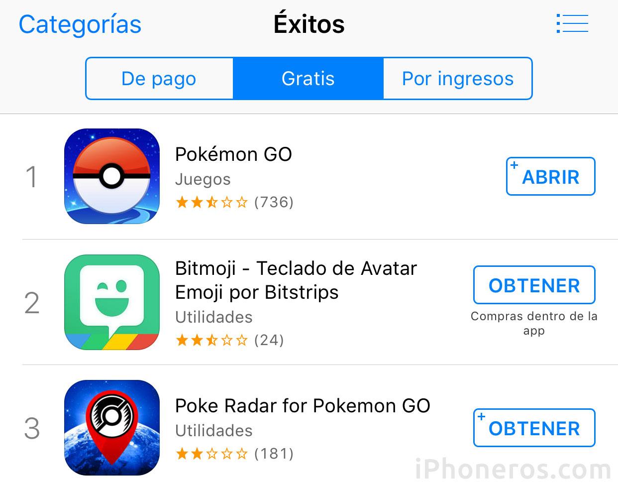Ranking de Apps Gratis con Pokémon Go a la cabeza