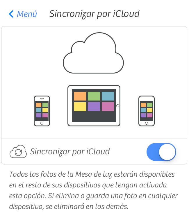 Sincronización vía iCloud