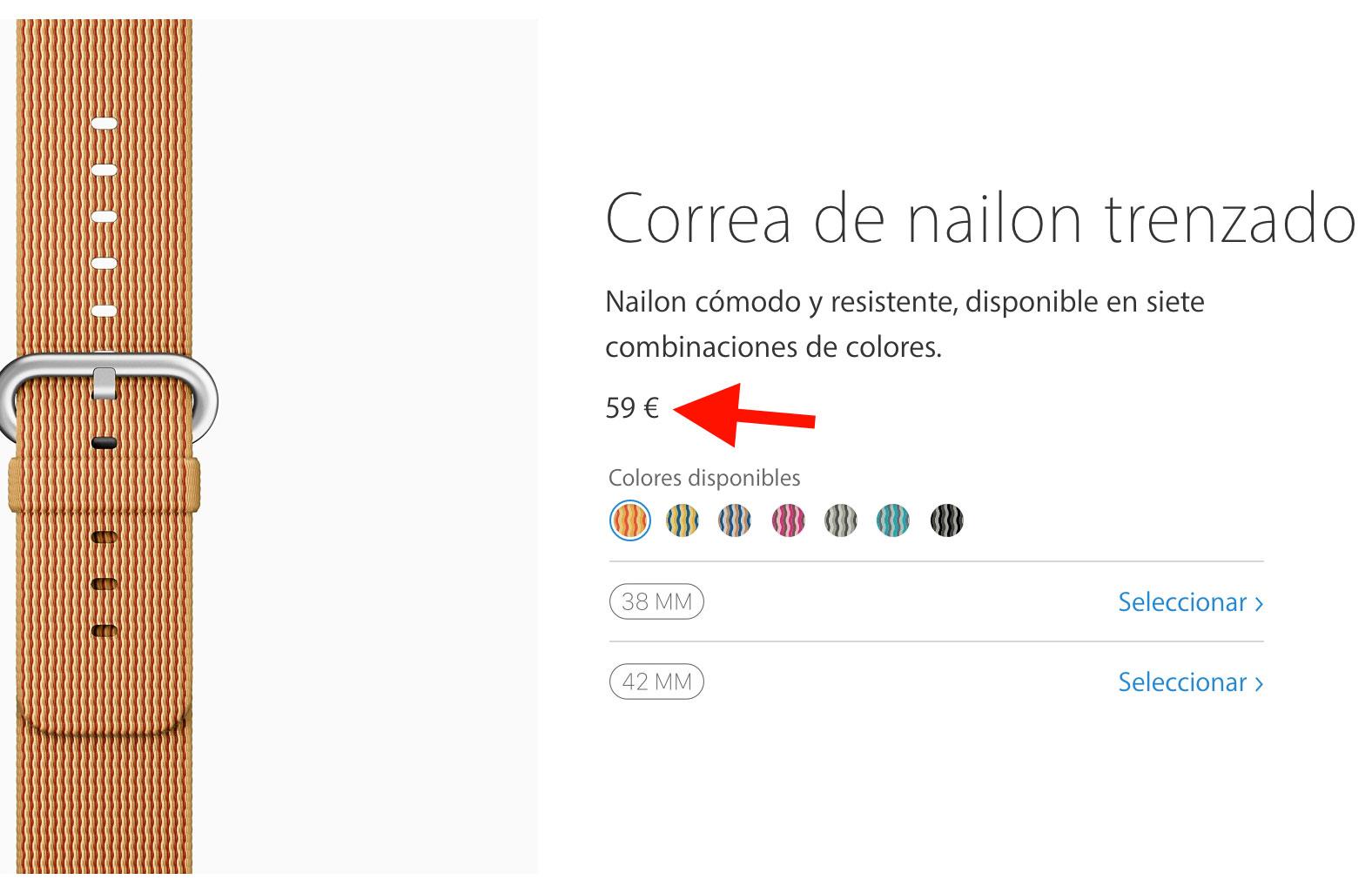Precio de las correas de nailon trenzado en la web de Apple