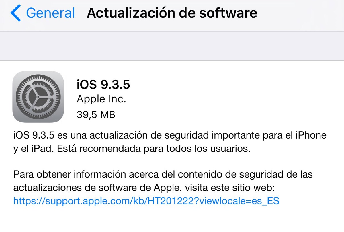 Apple publica iOS 9.3.5, corrige un importante problema de seguridad