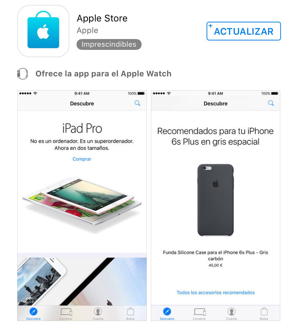 Actualización de la App de la Apple Store