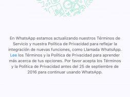 Mensaje de privacidad de Whatsapp