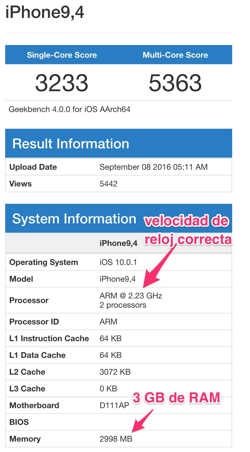 Resultados de Geekbench para el iPhone 7 Pro
